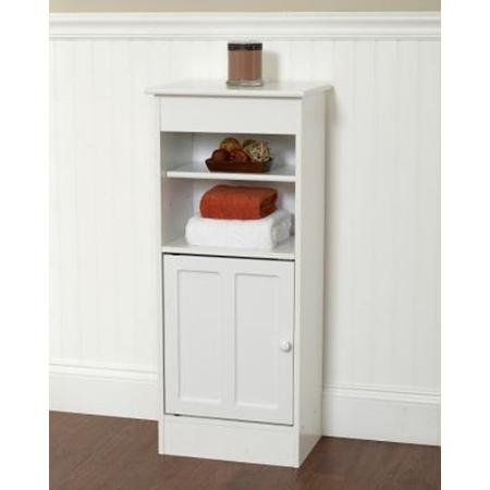 Zenith Products Wood Floor Stand High Storage Cabinets Designed for the Bathroom with Adjustable Shelf, White Finish by ZPC Zenith Products Corporation