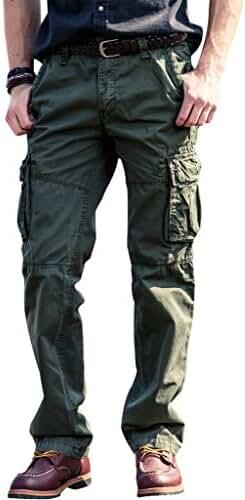 FlyHawk Men's 100% Cotton Wild Cargo Pants Relaxed-fit Casual Cargo Work Pants