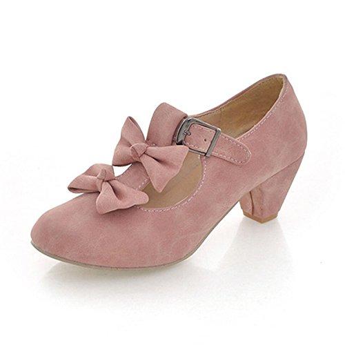 DIMAOL Chaussures Pour Femmes Automne Hiver en Daim Talons Nouveauté Confort Talon Chaussures Bowknot Pour Office & Carrière Robe Rouge Rose Bleu Rouge,Rose,US5.5/EU36/UK3.5/CN35