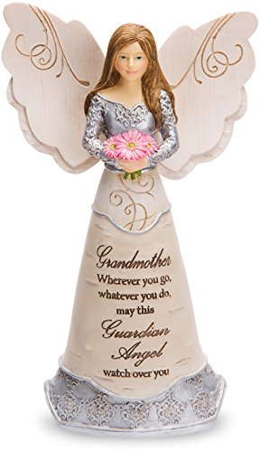 Guardian Angel Figurine - Pavilion Gift Company Elements - Grandmother Guardian Angel Figurine 6 Inch, Solid, Pink