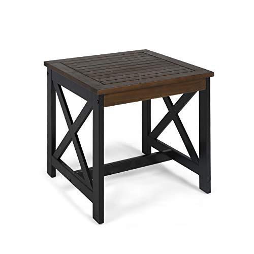 Great Deal Furniture Karen Beach Outdoor Farmhouse Acacia Wood End Table, Dark Brown and Black