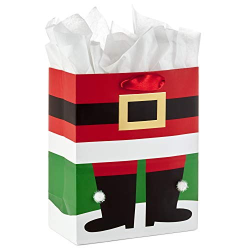 Hallmark Medium Christmas Gift Bag with Tissue Paper (Santa Boots)