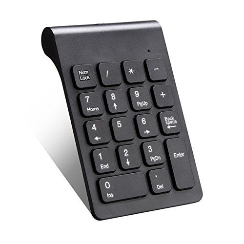 IUME Wireless Keyboard, Numeric Keypad Numpad 18 Keys with 2.4G Mini USB Number Pad Keyboard Extensions for Data Entry in Excel for for Laptop,Desktop, Surface pro, Notebook and More - Black
