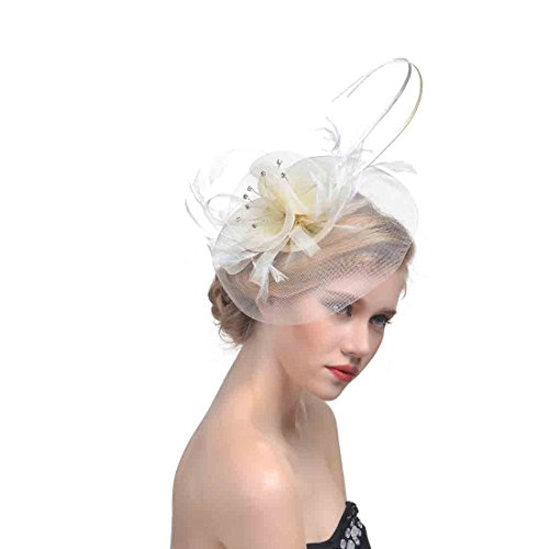 Women's Vintage Flower Feather Mesh Net Fascinator Hair
