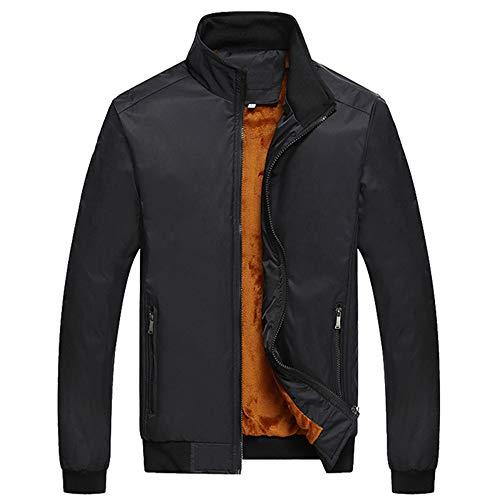 EWQ Ever Winter Casual Thick Jacket for Men Stand Collar Men's Fleece Coat Warm Double Layer Windbreaker Black