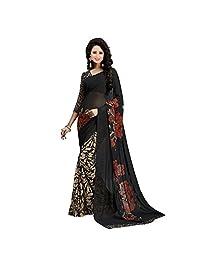 Shonaya Women`S Black Colour Georgette Printed Saree with Unstitched Blouse Piece