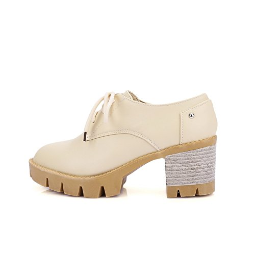 BalaMasa Ladies Bandage Chunky Heels Platform Solid Urethane Oxfords Shoes Beige nq4pA8s
