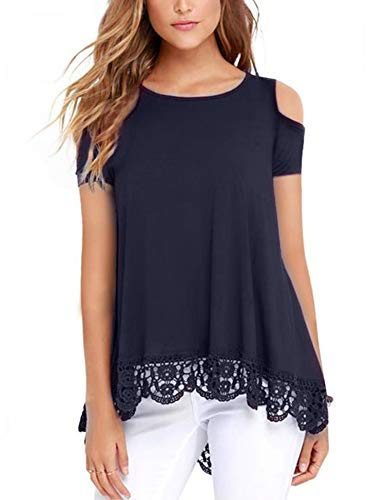 (RAGEMALL Womens Cold Shoulder Tops Short Sleeve Lace Trim Tunic Blouse Top for Women Navy Blue XL)