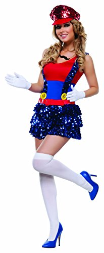 Starline Women's Block Bustin Maria 5 Piece Costume Set, Red/Blue, Medium