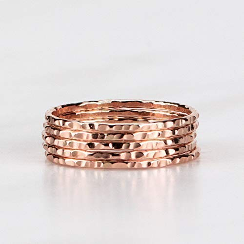 Delicate Stacking Rings - Hammered 14K Rose Gold Fill - Sold per Ring - Custom Made To Your Size ()