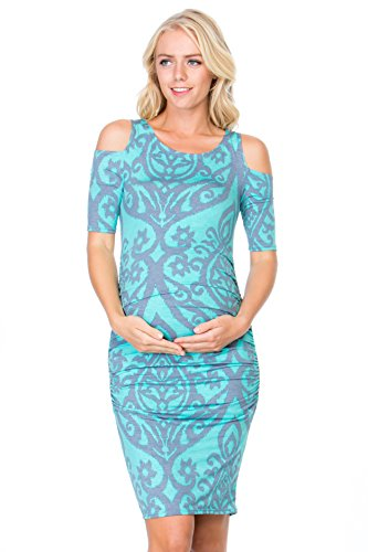 My Bump Womens Cold Shoulder Fitted Maternity Dress W/Side Ruched