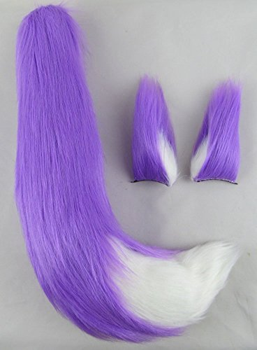 Happylifehere Furry Fox Ears Fox Tail Unisex Adult Fancy Dress Cosplay Costume Halloween Party (25'' tail, Light purple and White)