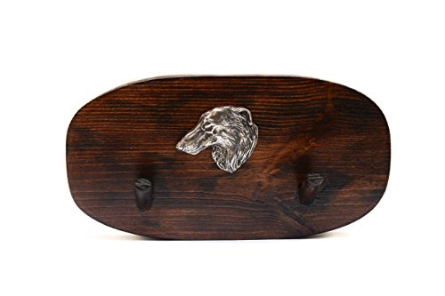 Borzoi, Russian Wolfhound, unique wooden hanger with a relief of a purebred dog