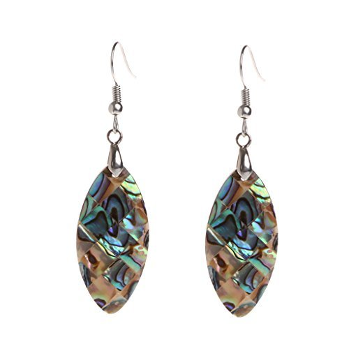 (FunnyDay 1 Pair Exotic Retro Vintage Drop Shape Earrings Oval Mother-of-Pearl 34x18mm)