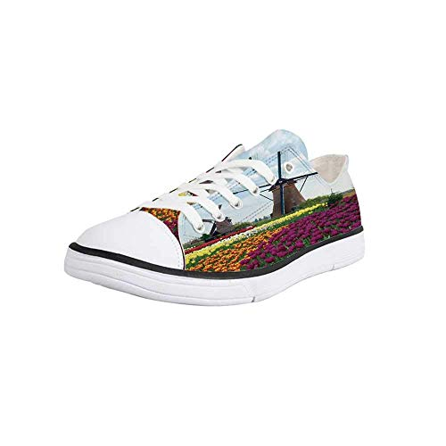 Canvas Sneaker Low Top Shoes,Windmill Decor,Bedding Plants of Netherlands Farm Country Heritage Historical Architecture Women 9/Man 6.5