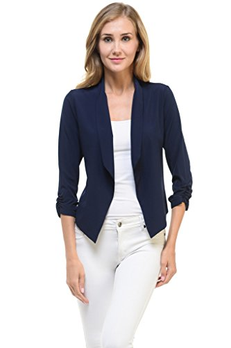 Auliné Collection Womens Casual Lightweight 3/4 Sleeve Fitted Open Blazer Navy Blue (Navy Blue Blazer)