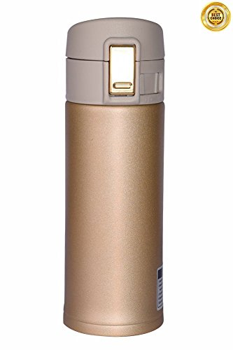 Lasting Charm Stainless Steel Mug, Vacuum Thermos for Home Travel Hiking Yoga with Coffee or Tea 12 oz (Champagne Gold)