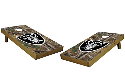 PROLINE NFL Oakland Raiders 2'x4' Cornhole Board Set with Bluetooth Speakers - Xtra Camo Design by PROLINE