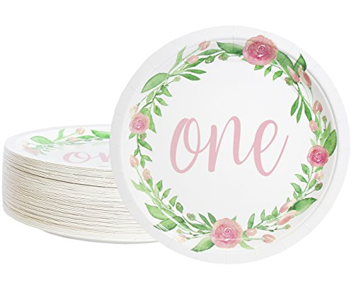 Disposable Plates - 80-Count Paper Plates, 1st Birthday Party Supplies for Appetizer, Lunch, Dinner, and Dessert, Floral Design, 9 Inches in Diameter (Dessert Plates Birthday Paper)