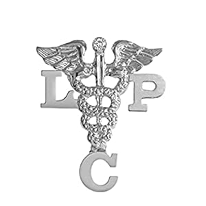 NursingPin Licensed Professional Counselor LPC Pin with Diamond in Silver