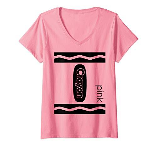 Womens Pink Crayon Halloween Couple Friend Group Costume V-Neck T-Shirt -