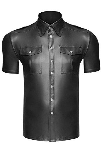 At H011 Hecho Polo Effect mano Material negro Lencer a botones con Wet Shirt camiseta en Hombres camiseta rqrft