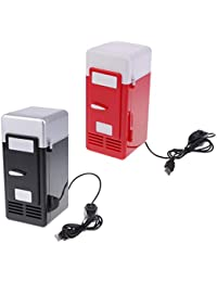 Homyl 2 Sets Universal 5V Car Mini Fridge Warmer and Cooler Dual Auto USB Refrigerator Freezer Office Black and Red