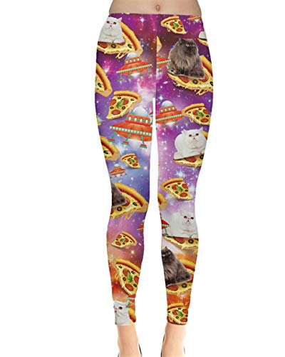 CowCow Womens Tights Space Galaxy Cats On Pizza Stretchy Leggings - M Dark Magenta