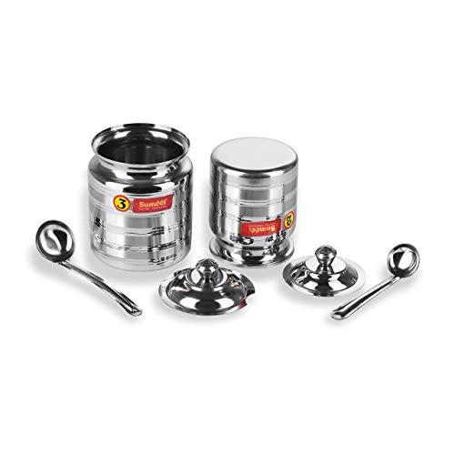 Sumeet Stainless Steel Oil and Ghee Pot Set - No. 2 350ML - 6.5cm Dia - No.3-500ML - 7.5cm - Oil Vessel