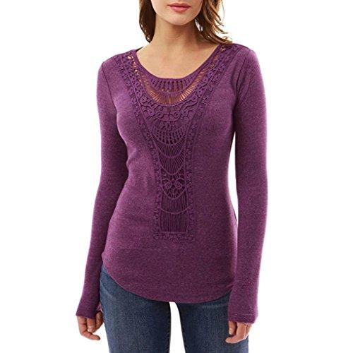 Price comparison product image Hemlock Women Fall Long Sleeve Lace Crochet Blouse Top Shirt (XL,  Purple)