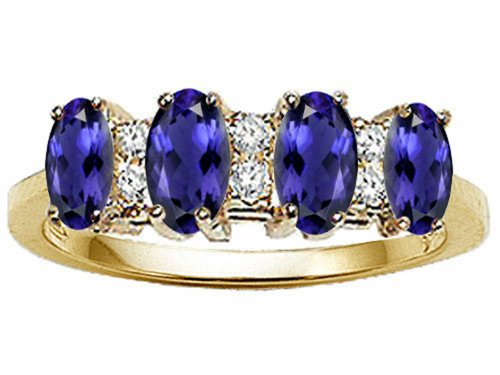 Tommaso Design Oval 5x3mm Genuine 4 Stone Iolite Ring 14 kt Yellow Gold Size 9 14k Yellow Gold Iolite Ring