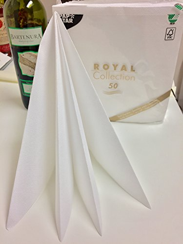 White Wedding Collection - Linen-like PAPER Disposable Napkins, 50 Pack, Premium Quality, Royal Collection, 1/4 - Fold. 16