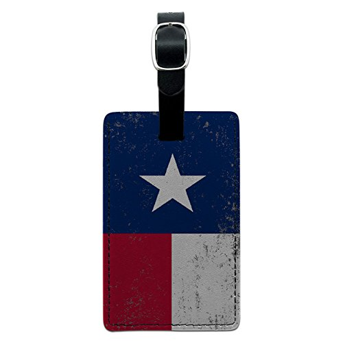 (Graphics & More Texas Flag Distressed Leather Luggage Id Tag Suitcase Carry-on, Black)