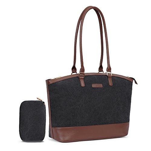 - UtoteBag Women 15.6 inch Laptop Shoulder Bag Tote Bag for Notebook Adapte for Business, Casual Handbag Briefcase for Work Computer (Canvas Black)