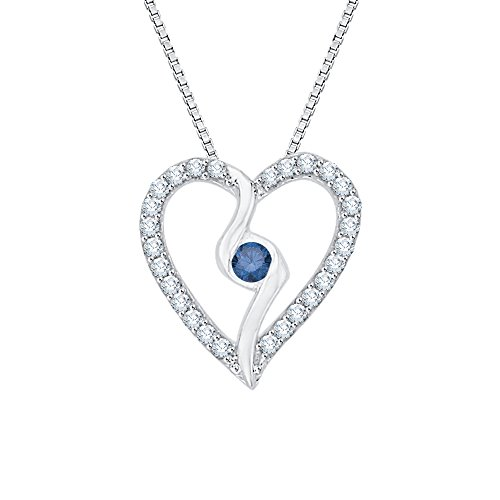 (KATARINA Center Blue and White Diamond Heart Pendant Necklace in Sterling Silver (1/6 cttw G-H, I2-I3))