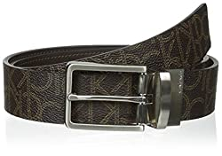 Calvin Klein Men's 35 mm CK Logo Reversible Strap Belt, Brown/Brown, 32