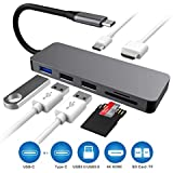 USB C Hub, Type C Hub to 4K HDMI, 7-in-1 USB C Adapter with PD Power Delivery, SD/TF Card Reader, 4K USB C to HDMI Output, 3 USB Ports MacBook/MacBook Pro and More USB Type C Devices