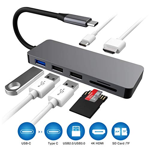 USB C Hub, Type C Hub to 4K HDMI, 7-in-1 USB C Adapter with PD Power Delivery, SD/TF Card Reader, 4K USB C to HDMI Output, 3 USB Ports for New MacBook/MacBook Pro and More USB Type C Devices