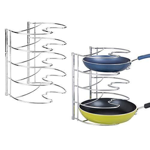 mDesign Metal Wire Pot and Pan Organizer Rack for Kitchen Cabinet, Pantry and Shelves - Organizer Holder with 4 Slots for Skillets, Frying Pans, Lids, Vertical or Horizontal Placement, 2 Pack - Chrome