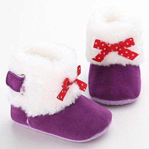 Hunpta Babyschuhe Mädchen Jungen Lauflernschuhe Baby Schneestiefel halten warme weiche Sohle weiche Krippe Schuhe Kleinkind Stiefel (11, Weiß) Lila