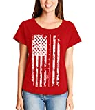 Fishing Pole American Flag - Fisherman USA Ladies Dolman (Red, Large)