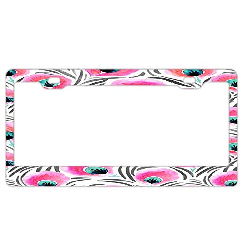 (AMZ Decorative Frames Girly Floral License Plate Frame, Car Licenses Plate Covers for Both Front and Back License Tag, Stainless Steel Metal License Plate Frame (Pink Feathered Flowers))