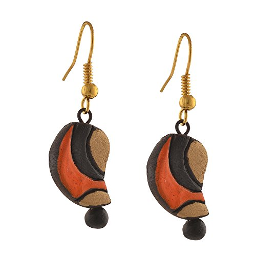 Oreleaa Handmade Painted Terracotta Paisley Hook Dangle Earrings for Girls and Women