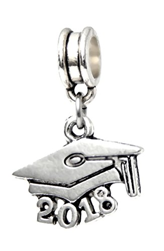 J&M Dangle 2018 Graduation Cap Charm Bead for Charms Bracelets Cap Bracelet Charm