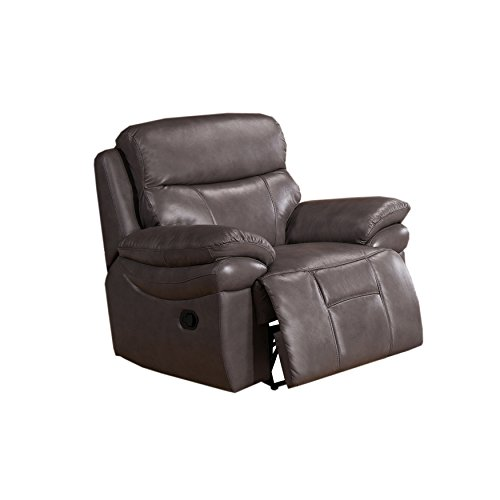 Amax Leather - Summerlands Leather Recliner, Smoke Grey