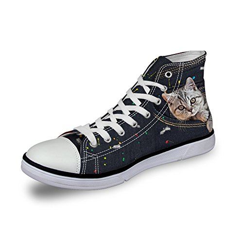 High Dog 8 for Pattern Cat Denim Canvas top Flat Animal Coloranimal Cat Cute Shoes Women SwxqXZnZU