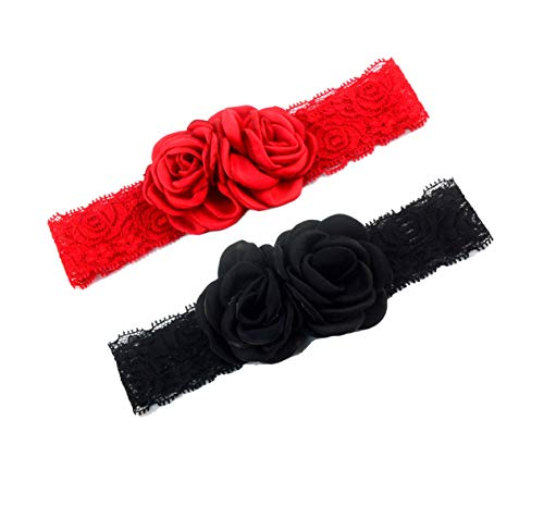 Elastic Baby Girls Lace Headband with Double Baked Burn Satin Rosette Flowers JA63 (Black Red)