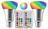 Kobra 10W RGBW 12 Color LED Light Bulb - LED Color Changing Light Bulb with Remote Control Color Changing LED Lights Timer, Variable Changing, 3 Brightness Setting LED Lights for Room Decoration 2-PK
