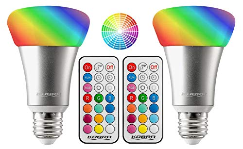 Kobra 10W RGBW 12 Color LED Light Bulb - LED Color Changing Light Bulb with Remote Control Color Changing LED Lights Timer, Variable Changing, 3 Brightness Setting LED Lights for Room Decoration 2-PK (Bulb Color Led Changing)