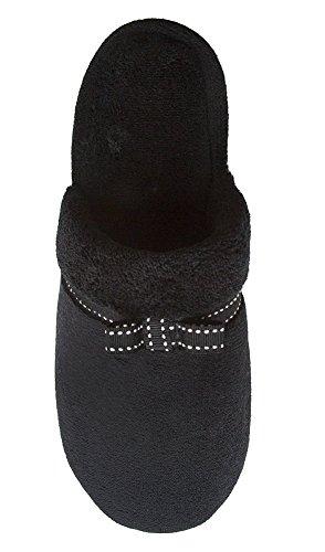 Isotoner Sabot De Femme En Maille Avec Garniture Détrave, Disponible En Noir, Frêne Ou Taupe Noir